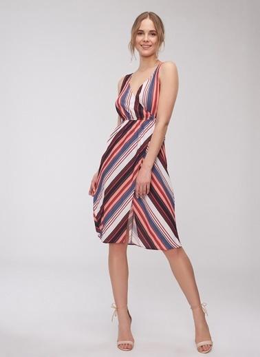 People By Fabrika Çizgili Yırtmaçlı Elbise Kiremit
